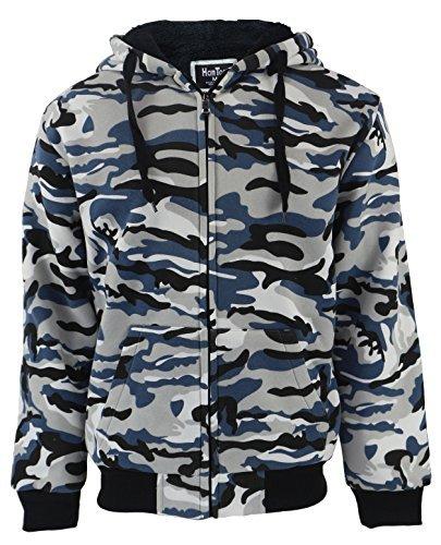 Large Blue Camo - Lee Hanton Men's Full Zip Heavyweight Sherpa-Lined Fleece Hoodie Jackets (Large, Camo Blue)