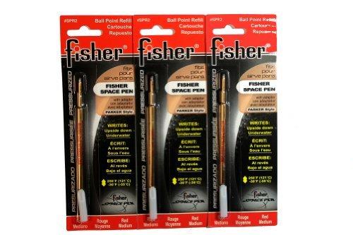 3 Pack Fisher Space Pen Red Ink Refills SPR2 Medium Tip