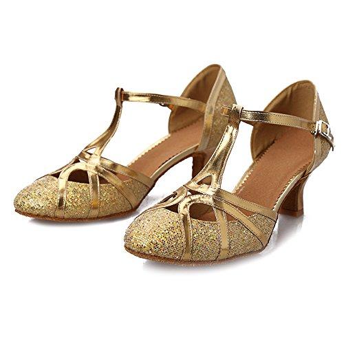 Hroyl Mujer Zapatos De Baile Latino / Jazz Salón De Cuero Modelo-511 Oro