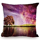 KissCase Throw Pillow Cushion Cover,Magical,Supernatural Sky Scenery with Mystical Northern Solar Theme and Star Clusters Photo,Purple,Decorative Square Accent Pillow Case