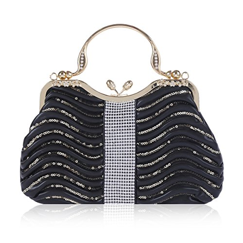 Evening Paillette Pleated Damara Tote Womens Black Kiss Handbag Lock xpwfY