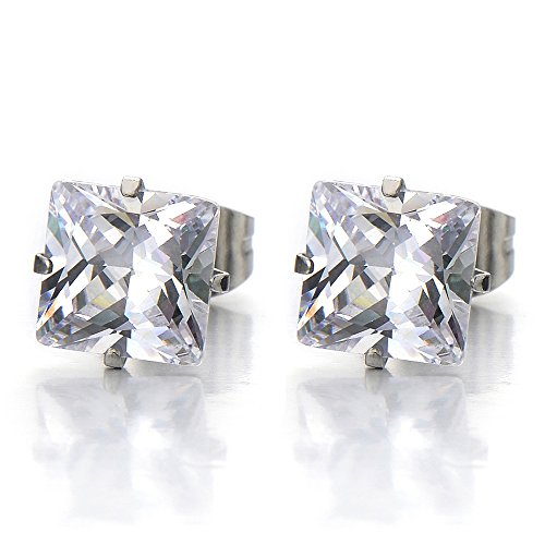 Square Zirconia Princess Earrings Stainless