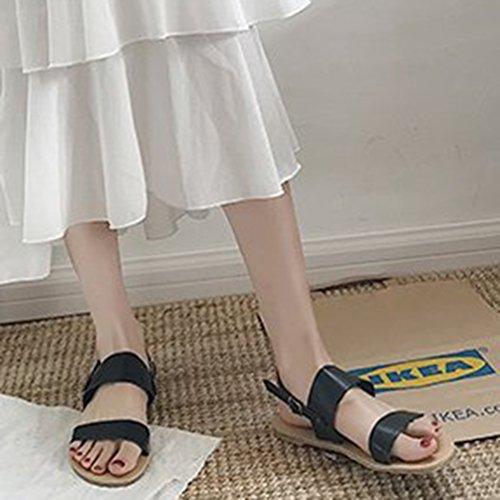 Haut Avec Pantoufles Ouvert De Les Pour Plates Femmes Noire À Boucle Bas Jitong Slingback Plage Chaussures Bout Sandales Confortables Raq7dxww