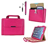 Cellular360 Classic Portable Handbag Stand Case For iPad Air 2 with a Side Bag for Your Phone, Wallet, Keys and Two Free Styli (Handbag-Pink)