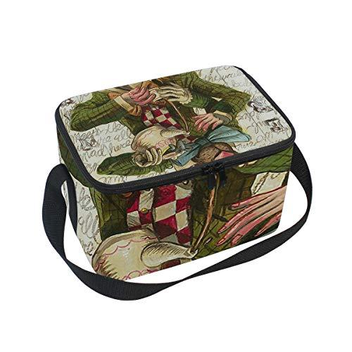 Lunch Bag Cooler Tote Bag Mad Hatter Joker Card Lunchbox Meal Prep Handbag for Picnic School Women Men -
