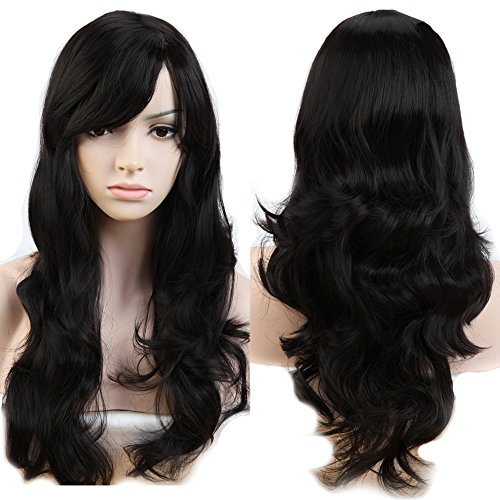 19inch Women Long Curly Wavy Hair Wigs With Bangs Natural Cosplay Party Dress Heat Resistant Synthetic Dark Black Full Wig