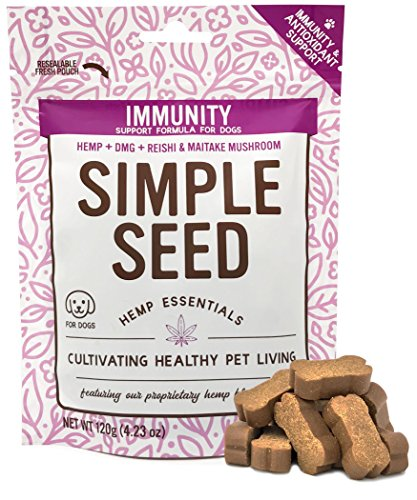 Hemp Allergy Immune Supplement for Dogs with Reishi Mushroom, Maitake Mushroom, Hemp Oil, and DMG by Simple Seed, 30 Soft Chews