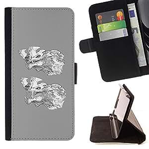 Momo Phone Case / Flip Funda de Cuero Case Cover - Lobo gris dibujos animados de blanco Carácter - HTC Desire 820