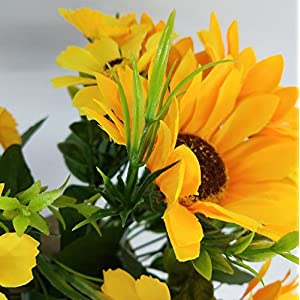 """Ieoyoubei 2 PCS Bouquet of Artificial Silk Flower Sunflower 12"""" Bouquet and Green Leaf for Home Decoration Bridal Wedding Festival Decoration Small Flower (Yellow-Orange) 8"""