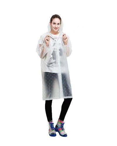 Portátil de la mujer moda gabardina larga con manga larga chaqueta de viaje reutilizable lluvia Mac