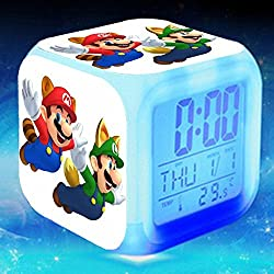 Enjoy Life : Cute Digital Multifunctional Alarm Clock With Glowing Led Lights and stickered Super Mario , Good Gift For Your Kids , Comes With Bonuses. Part 3 (21)