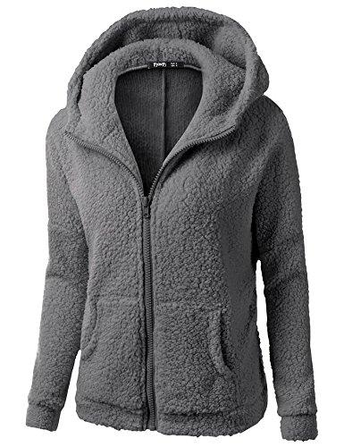 size Big 2XL COAT FYM Warm Long sleeve Hat DYF Women Color Zipper Solid Pocket Coat Grey Dark dx0YaBYqw