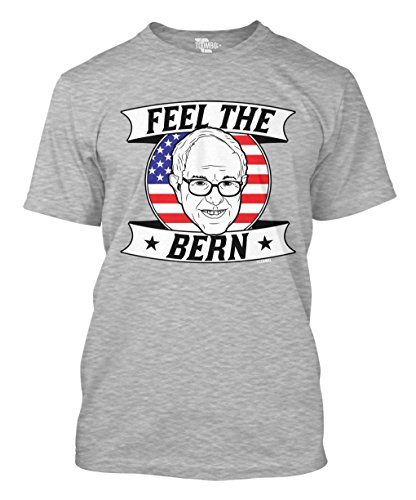 Tcombo Feel The Bern - Bernie Sanders For President Men's T-Shirt (Large, Light Gray)