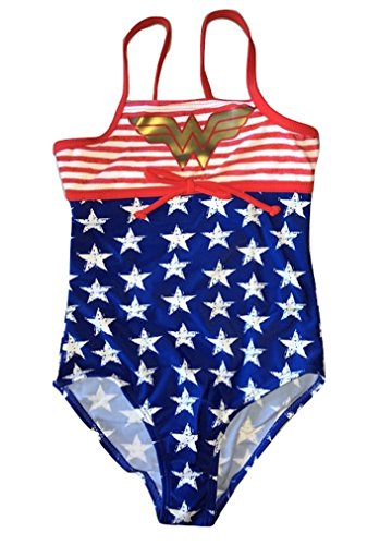 In Gear Girls Wonder Woman Sport One Piece Swimsuit Stars and Stripes in sizes (Wonder Woman Swimsuit Girls)