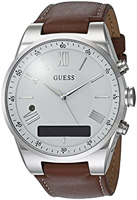 GUESS Men's CONNECT Smartwatch with Amazon Alexa and Genuine Leather Strap Buckle - iOS and Android Compatible - Silver