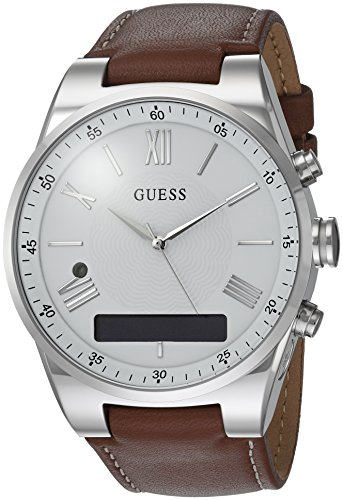 GUESS Men's Stainless Steel Connect Smart Watch - Amazon Alexa, iOS and Android Compatible, Color: Brown (Model: C0002MB1) ()