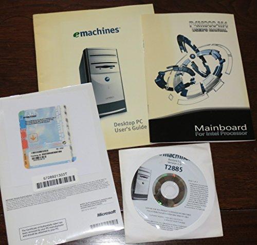 eMachines Desktop PC User's Guide, P4M900-M4 Mainboard Intel Processor User's Manual, T2885 Restore CD & Certificate of Authenticity