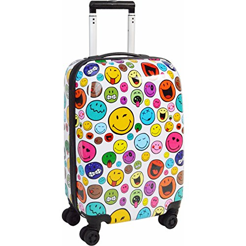 Smiley Celebration 30'' Spinner (White Smiley Faces) by Smiley World Luggage