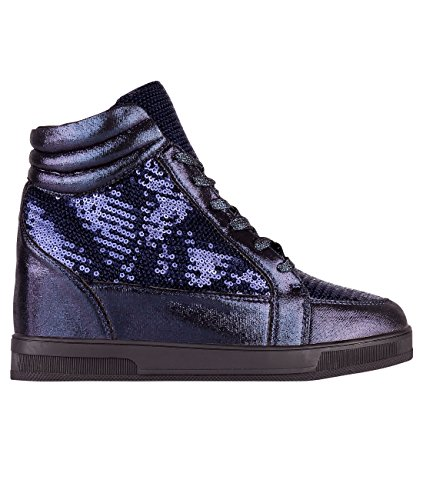 KRISP Womens Fashion Metallic Sequin Lace Up High Top Creeper Platform Sneakers Navy (5484) a0h5ffS