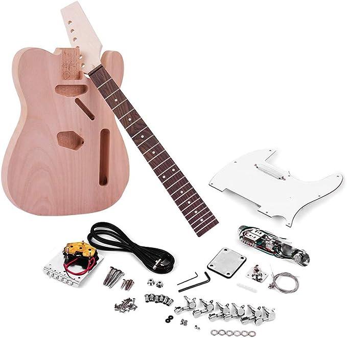 ZGHNAK Guitarra eléctrica sin terminar Kit de bricolaje Cuerpo de ...