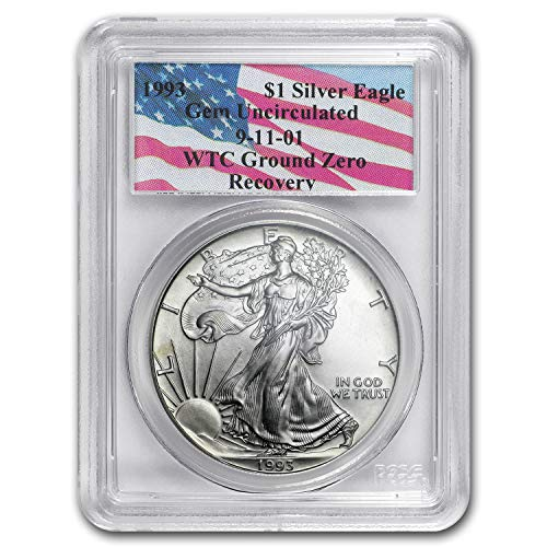 (1993 Silver American Eagle Gem Unc PCGS (World Trade Center) 1 OZ About Uncirculated PCGS)
