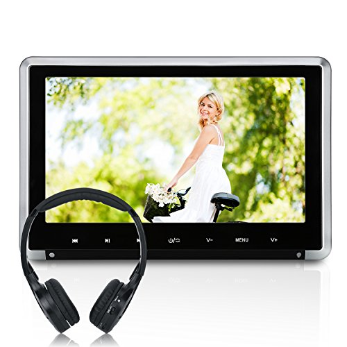 NAVISKAUTO 10.1″ Car Headrest DVD Player with IR Headphone, HD 1080P TFT LCD Screen, Remote Control and HDMI USB SD Port