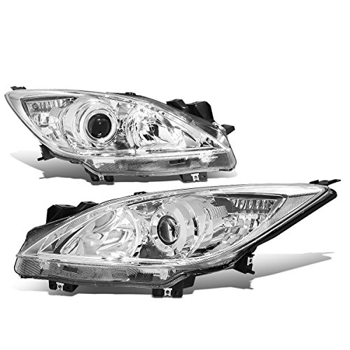 For Mazda 3 BL Pair of Chrome Housing Clear Corner OE Style Projector Headlight (Mazda 3 Halo Headlights)