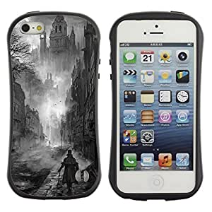 Paccase / Suave TPU GEL Caso Carcasa de Protección Funda para - Black White Painting Castle Vampire - Apple Iphone 5 / 5S
