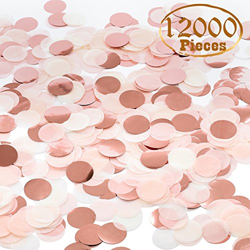 Party Table Confetti - Whaline 12000 Pieces Paper Confetti Circles Tissue Party Table Confetti for Wedding, Holiday, Anniversary, Birthday, Mixed Colors, 1 Inch (120 Grams)
