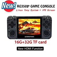 RG350P Handheld Game Console with Opening Linux Tony System HDMI Output, 64Bit 3.5inch IPS Screen Retro Console with 32G TF Card 2500 Classic Games Portable Video Game Console (Transparent black)