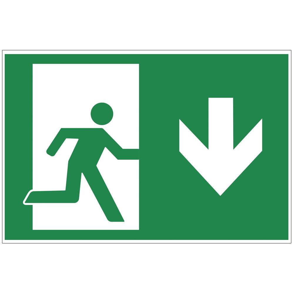 'Panneau sortie de secours bas –  Exit Plaque de mousse rigide en PVC 300 x 200 mm –  3 mm d'é paisseur geschenke-fabrik