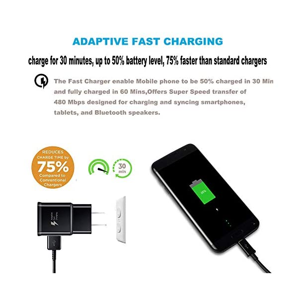 Fast-Charge-Adaptive-Fast-Charger-Kit-for-Samsung-Galaxy-S9S8-PlusNote8USB-Type-C-Cable-20-Fast-Charging-uses-Dual-voltages-for-up-to-75-Faster-Charging-Wall-Charger-Type-C-Cable-Black