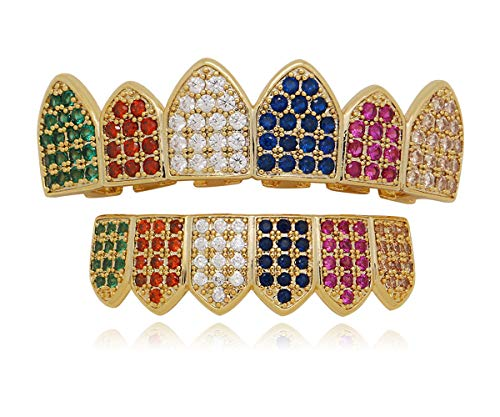 - LuReen 14k Gold Plated Rainbow Color Iced Out CZ Vampire Fangs Grillz Set + 2 Extra Molding Bars (Grillz Set)