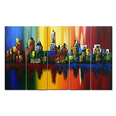 Wieco Art - Summer in The City Large 5 Piece Modern Abstract Colorful Landscape Artwork 100% Hand Painted Stretched and Framed Oil Paintings on Canvas Wall Art for Living Room Home Decorations