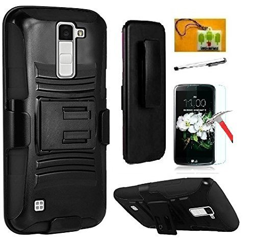 LG K20 V / LG K20 Plus / LG K10 / LG Grace / LG Harmony case, Luckiefind Dual Layer Hybrid Side Kickstand Cover Case With Holster Clip, Stylus Pen Accessory (Holster Black)