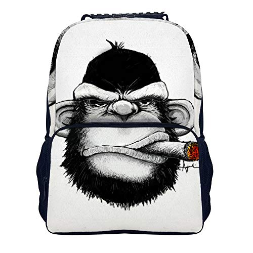 Monkey Cigar Gorilla Smoking Cigarette Shoulders Backpack Casual Two Mesh Side Pockets School Backpack For Boys And Girls