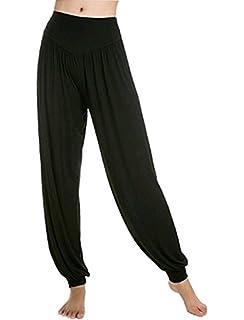 2b7d647c8a Leisial Pantalones de Yoga Algodón Suave Piernas Pantalones Anchos Sólido  Color Elástico Pretina Pantalones Bombachos de