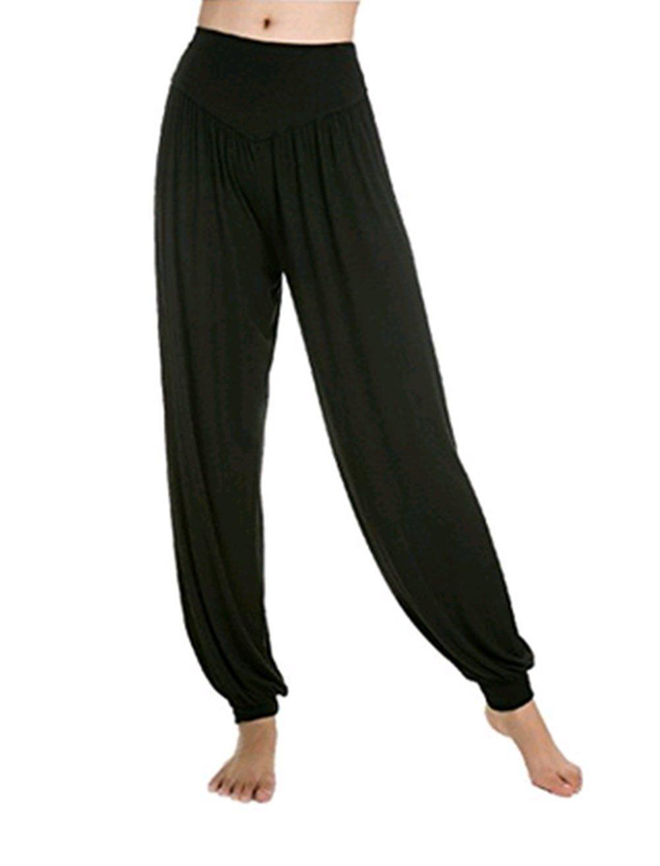 Leisial Pantalones de Yoga Algodón Suave Piernas Pantalones Anchos Sólido Color Elástico Pretina Pantalones Bombachos de