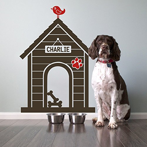[Modern Dog House Indoor: Custom Dog Name Sign Wall Decal - House:Dark Brown,Bird & Paw:Tomato Red] (Animals That Start With The Letter M)