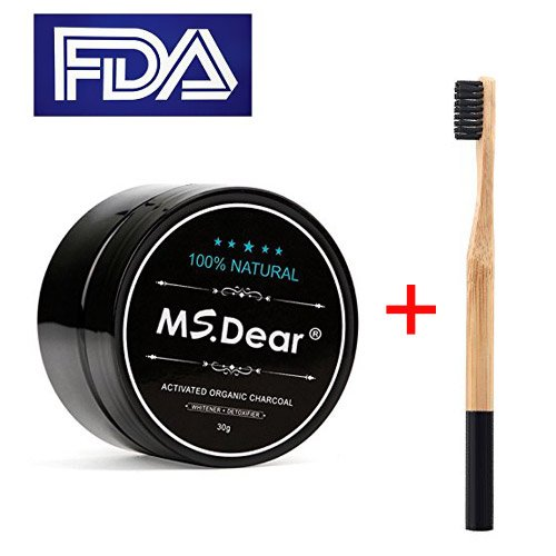 MS.DEAR Teeth Whitening Charcoal Powder,Toothpaster, Coconut Activated Charcoal, with Bamboo Toothbrush, Natural & Organic Oral Care Set 1.05 oz