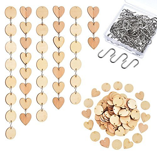 Hicarer 240 Pieces in Total, Christmas Wooden Circles Wooden Heart Tags with Holes and S Hook Connectors for Birthday Boards, Valentine, Chore Boards and Crafts