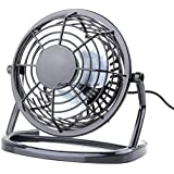 Fan Portable USB Fan Mini Desktop Desk Table Electric Rechargeable Fan for Laptop Room Office Outdoor Travel (Black)