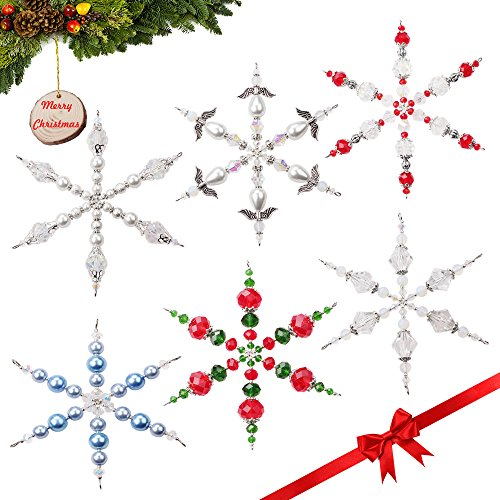 Snowflake Beaded Ornaments (Set of 6 Handmade Beaded Snowflake Christmas Ornament Decorations with Stainless Steel Wire, 4 inches)