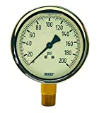 Dixon GLBR200 Brass Liquid Filled Gauge 2-1/2'' Face, 1/4'' Lower Mount, 0-200 psi, 2.5''