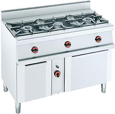 Macfrin S3SB Cocina a Gas de 3 Fuegos, Armario y Horno Con ...