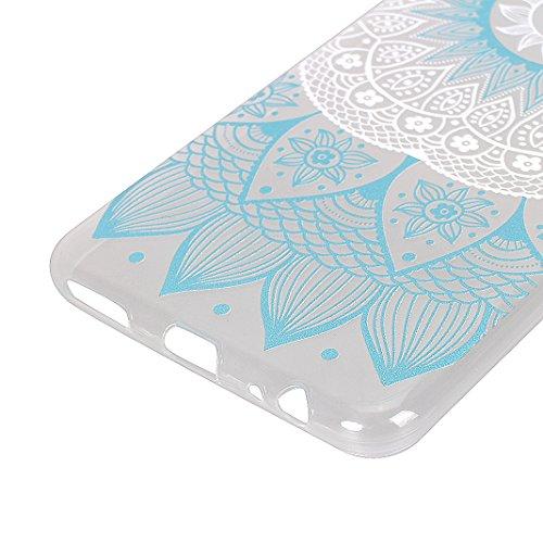 HUAWEI Mate 10 Lite Back Case, Moon mood Ultra Delgado Flexible TPU Silicona Trasero Caso Cubrir Protectora Funda para HUAWEI Mate 10 Lite/HUAWEI Nova 2i 5.9 pulgada Anti-arañazo Móvil Celular Estuche Mandala Azul