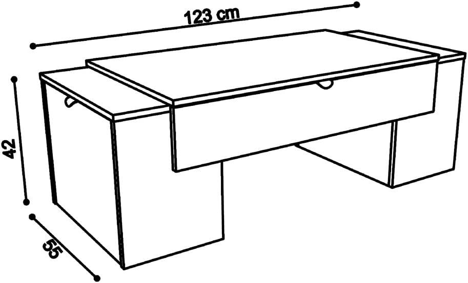 Berlioz Creations Lucky-Tavolino Basso 123 x 55 x 42 cm Colore Nero Lucido//Bianco