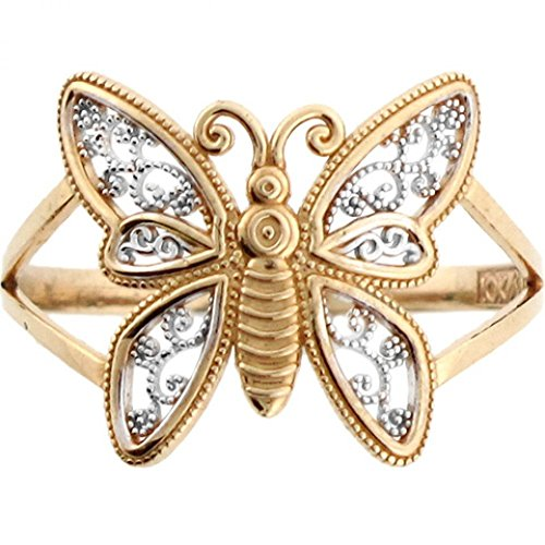 Jewelry Liquidation 10k Two Tone Real Gold Filigree Butterfly Ring ()