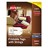 Avery Printable Tags with Strings for Inkjet Printers, 2'' x 3.5'', Pack of 96 Stringed Tags (22802)