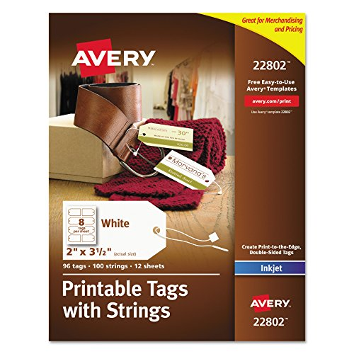 Avery Printable Tags With Strings For Inkjet Printers  2  X 3 5   Pack Of 96 Stringed Tags  22802